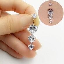Piercing de umbigo prata esterlina 925, barriga, botão, coração, zircônia cúbica, piercing de barriga