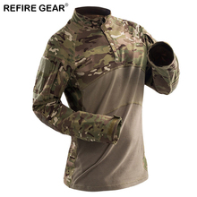 Refire Gear 2018 Tactical T-Shirt Men Camouflage Long Sleeve Outdoor Shirt Quick Dry Hiking Skiing Hunting Tactical T-shirts
