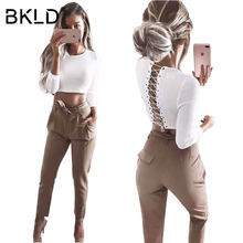 37b6c4c7a8 BKLD 2018 Casual Sexy Back Lace Up Sweater Women Skinny Slim Knitting Pull  Femme Crop Tops Long Sleeve Warm Autumn Winter Jumper