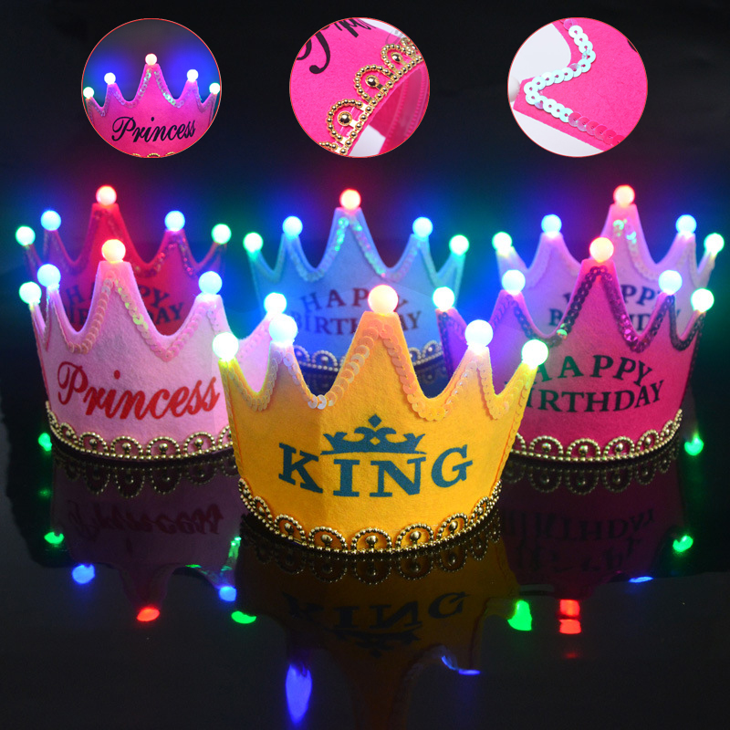 1pc Kid Birthday Hat Happy Birthday Cap Colorful Non-woven Hat King Princess Crown Luminous Led Birthday Hat Party Supplies Ds29
