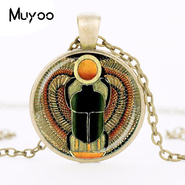 Online Shop Symbol Of Strength Egyptian Scarab Glass Dome Pendant