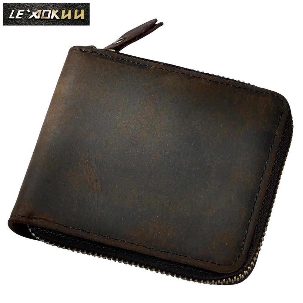 Män Cowhide Vertikal Bifold Casual Designer Multifunktion Kort Kort Kontant Mynthållare Fahion Zipper Around Purse Wallet 1007