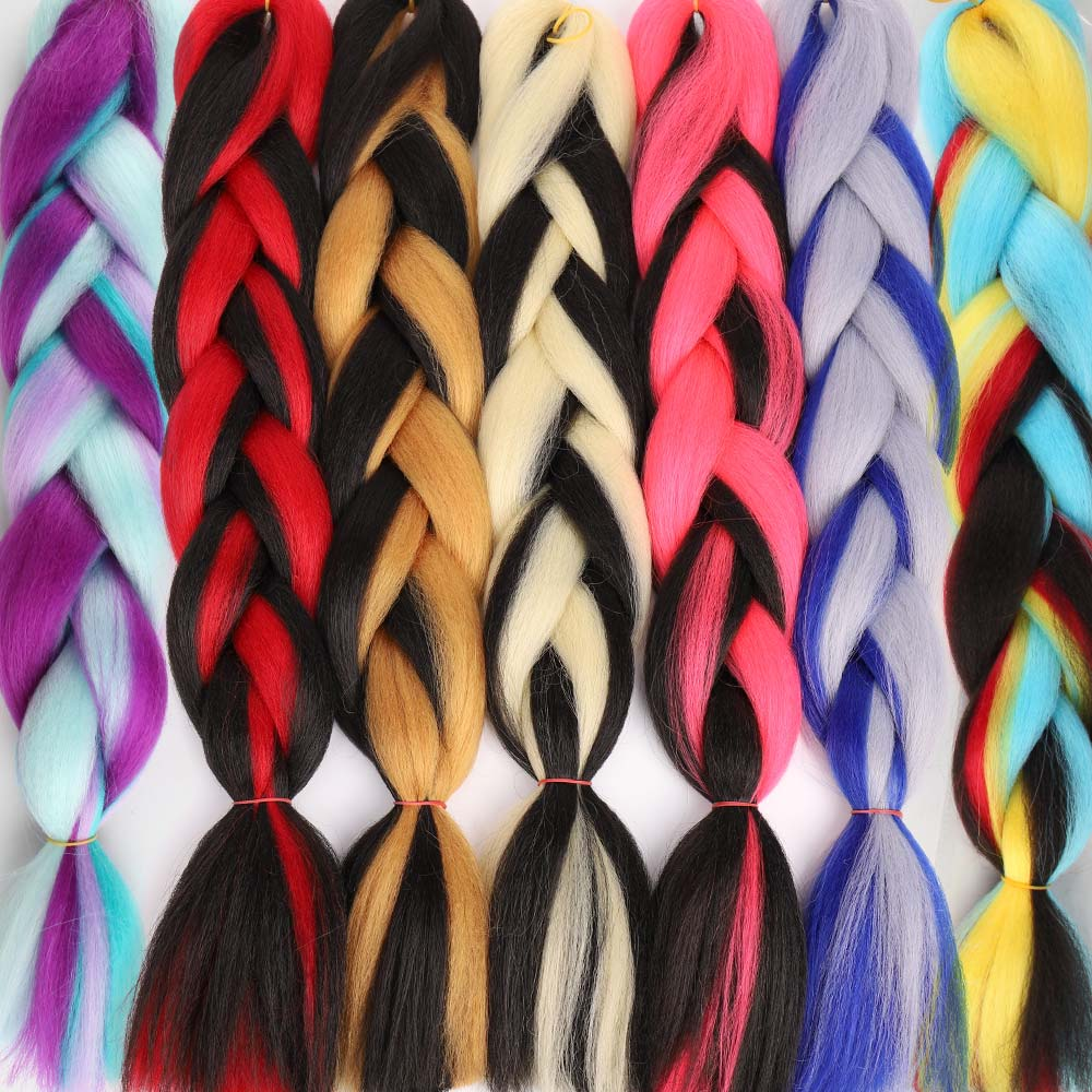 Prestretched Straight Ombre Braiding Hair Extensions Pageup Afro Jumbo Crochet Braids Blue Expression Synthetic Hair(China)