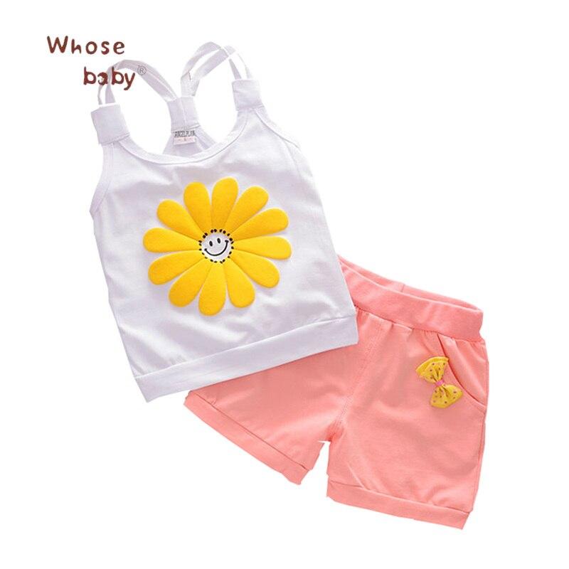 2Pcs/Set Summer Baby Clothing Set Cotton Girls Clothes Set Cute Bows Flower Fashion Casual Infant Baby Vest+Pants 2pcs set cotton girls clothing set 2018