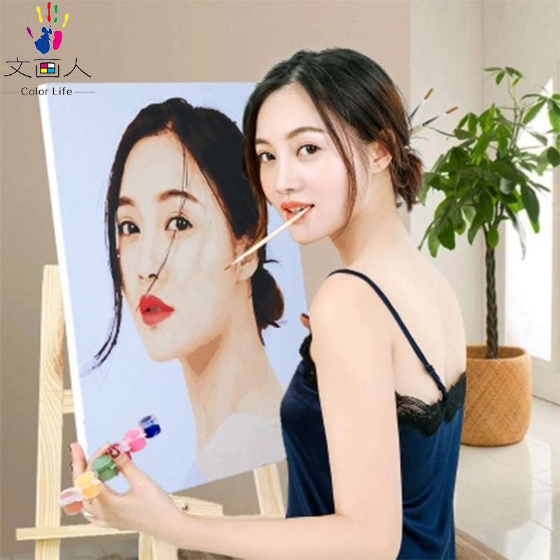 diy digital paint Coloring by numbers squirrel drinking Coke Cute animals oil painting by numbers for hoom Childrens room decor