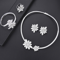 missvikki High Level Cubic Zirconia Sterling Silver Flower Jewelry Set Bangle Earrings Necklace Ring Top Quality Trendy Jewelry