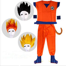 Dragon Ball Z Suit Son Goku Cosplay Costumes Top/Pant/Belt/Tail/wrister/Wig/shoes For Adult Kids Anime Cosplay Halloween Costume(China)