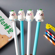 1 pcs New Creative Cartoon Stationery White Bear Style Neutral Pen Student Black Needle Tube Pen Office Supplies(China)