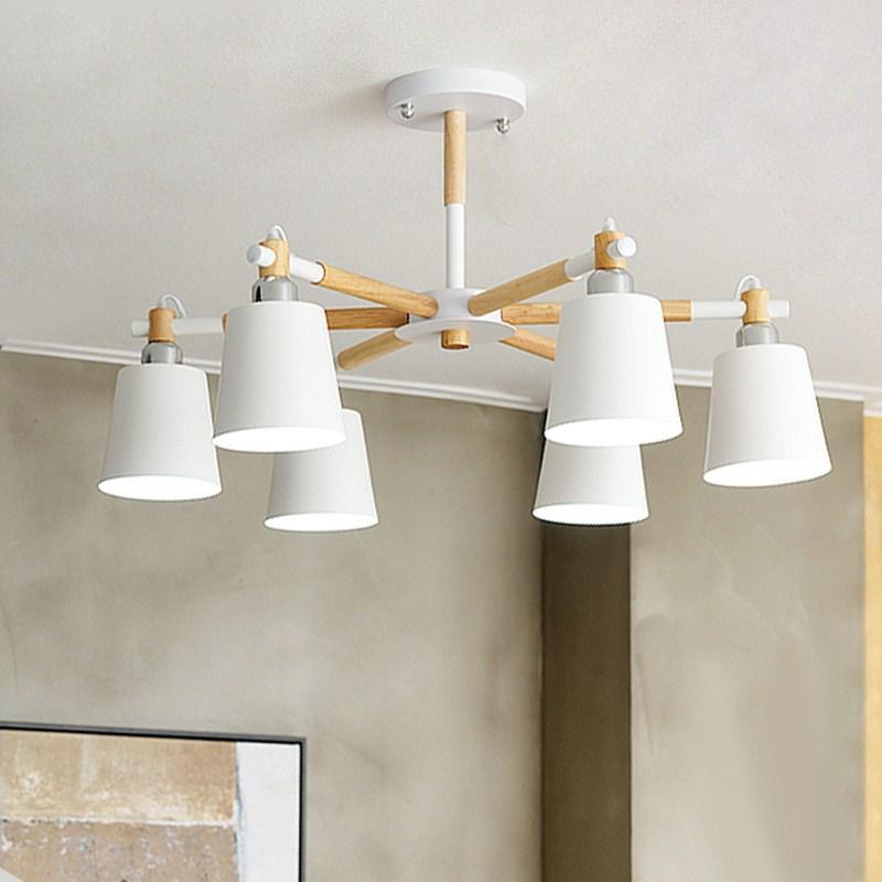 Japan style modern American solid wood pendant light bedroom living room restaurant hanging lighting E27