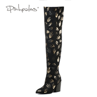 Brand Pink Palms Fashion Women Winter Shoes Women Stretch Animal Prints Fabric High Heels Pointed Toe Over Knee Boots for Women