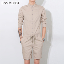 5f228be19dc7 2017 Summer New Designed Solid casual Men romper shorts shirt slim coverall  bodysuit High Quality Cotton one