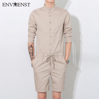 2017 Summer New Designed Solid casual Men romper shorts&shirt slim coverall bodysuit High Quality Cotton one piece suits