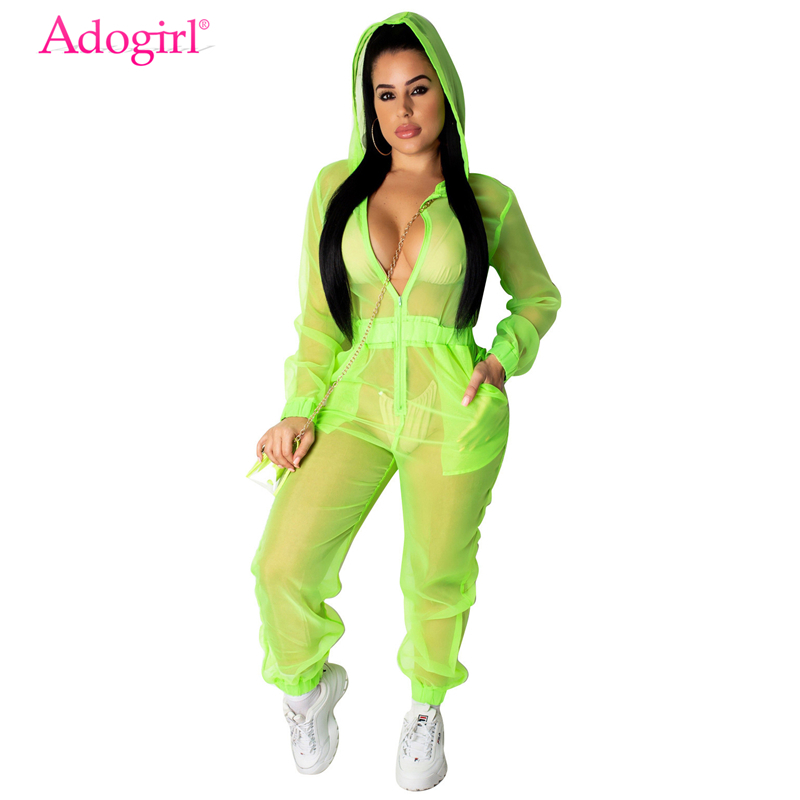 Adogirl Fluorescent Sheer Organza Hooded Jumpsuit Zipper V Neck Long Sleeve Casual Loose Romper Women Sexy Night Club Overalls