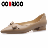 CONASCO Spring Summer Low Heels For Women Genuine Leather Shoes Butterfly Knot Decoration Prom Party Dress Fashion Shoes Woman