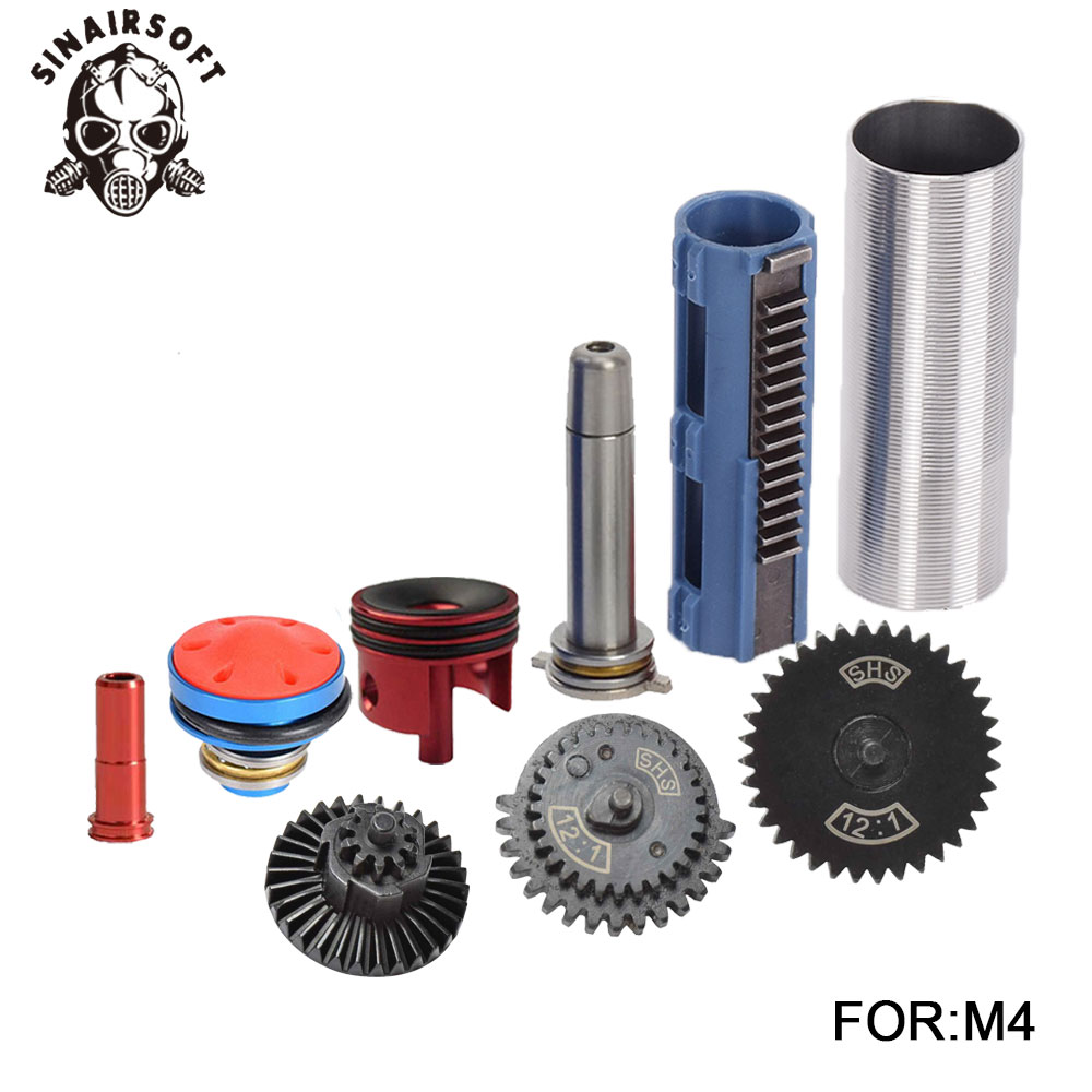 SHS 12:1 Gear Nozzle Cylinder Spring Guide 14 Teeth Piston Kit Fit Airsoft M4 M16 AK MP5 G36 For Paintball hunting  AccessoriesSHS 12:1 Gear Nozzle Cylinder Spring Guide 14 Teeth Piston Kit Fit Airsoft M4 M16 AK MP5 G36 For Paintball hunting  Accessories