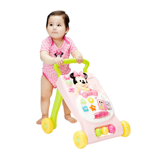Disney Baby Walker First Steps Car Toddler Trolley Sit-to-Stand Walker Kid's Early Learning Educational Musical Adjustable new hot sale baby toddler trolley sit to stand walker baby learning walking assistant infant safety baby walkers first steps car
