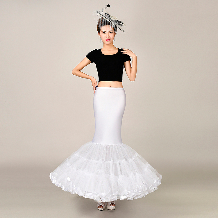 Elastic Fabric Big Fishtail Skirt Mermaid Trumpet Style Wedding Gown Petticoat Crinoline Slip