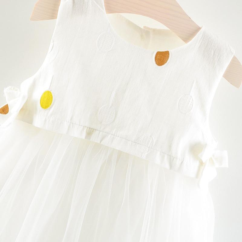 1-6Y Baby Girls Dress Summer Princess Dress White Birthday Dress A- Line Skirts Cute Kids Girl Clothing One-piece Dress Girl