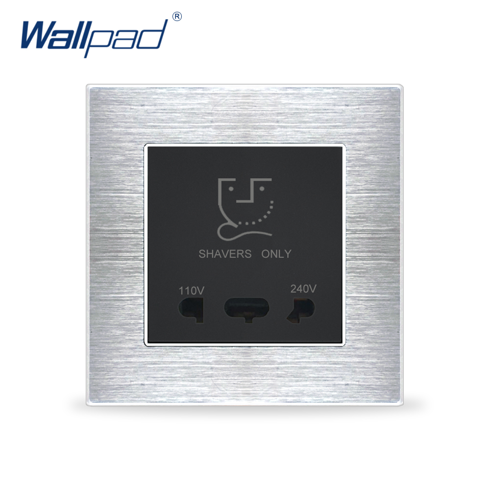 Shaver Socket Wallpad Luxury Satin Metal Panel Electric Wall Electrical Outlets For HomeShaver Socket Wallpad Luxury Satin Metal Panel Electric Wall Electrical Outlets For Home