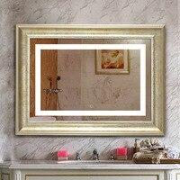 High end Винтаж в Классическом обрамлении Творческий 60*80 см свет зеркало для Ванная комната отель Водонепроницаемый DEFOG сенсорный выключатель