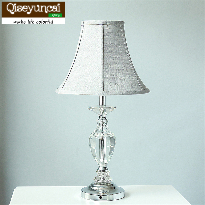 Fashion simple modern K9 crystal table lamp warm bedroom bedside cabinet lights Qiseyuncai
