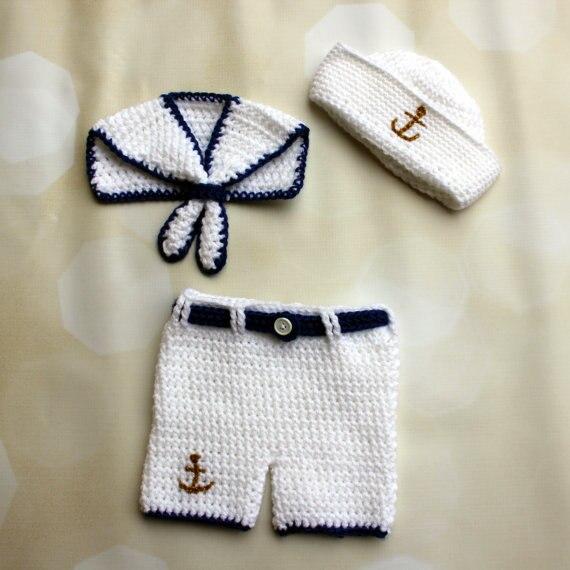 Conjunto de Ganchillo Conjunto Bebé traje de Marinero Marinero ...