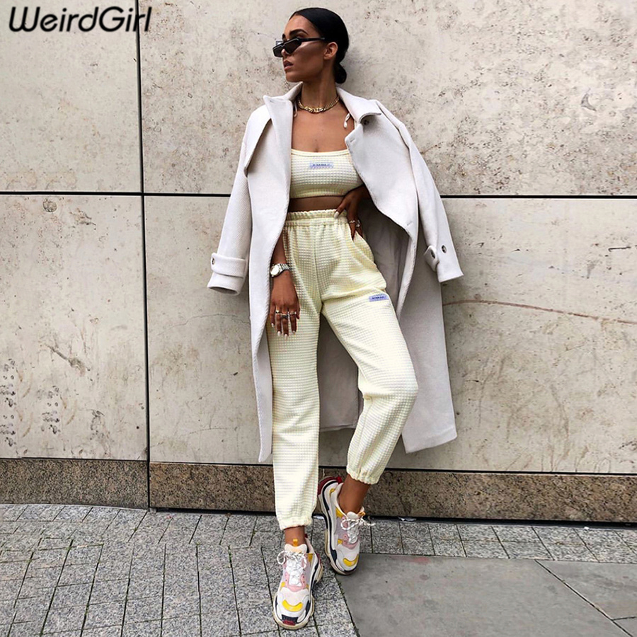 Weirdgirl Women Casual Pants Full Length Solid Color High Waist Female Trousers Stretched Home Street Wear New Autumn 2019