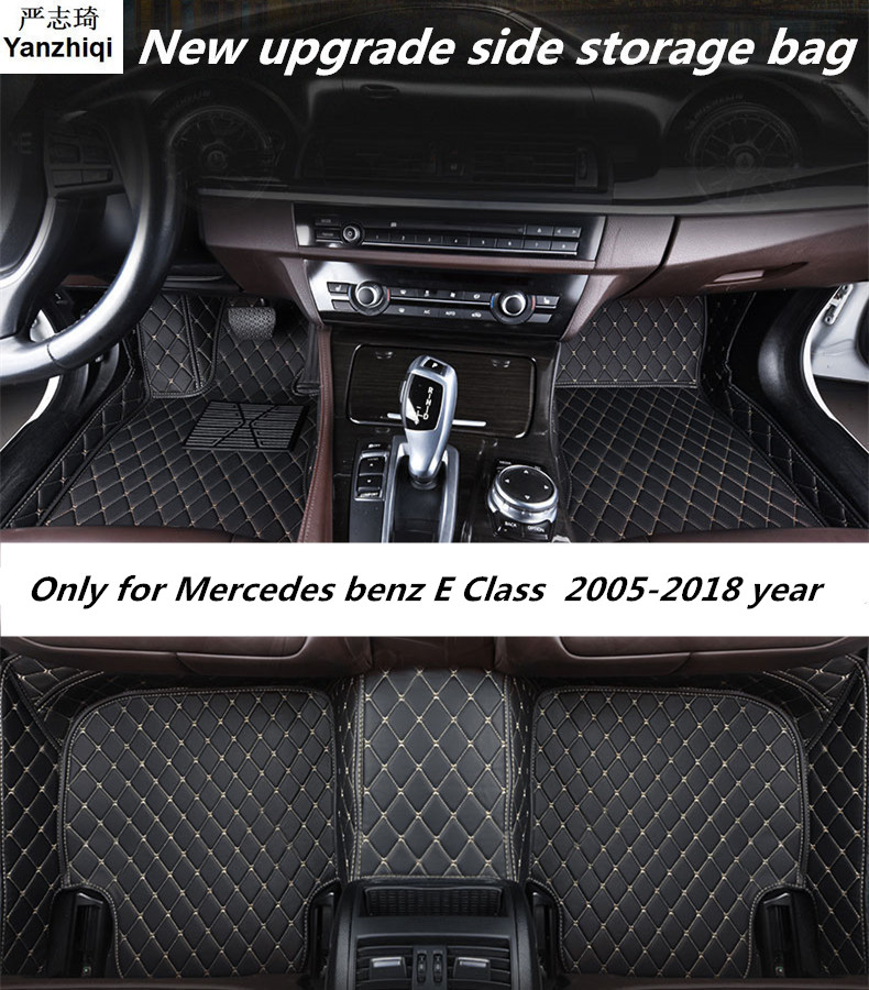 Upgrade leather car floor mats for <font><b>Mercedes</b></font> benz E Class w211 2005-2016 2017 2018 Custom auto foot Pad automobile carpet cover image