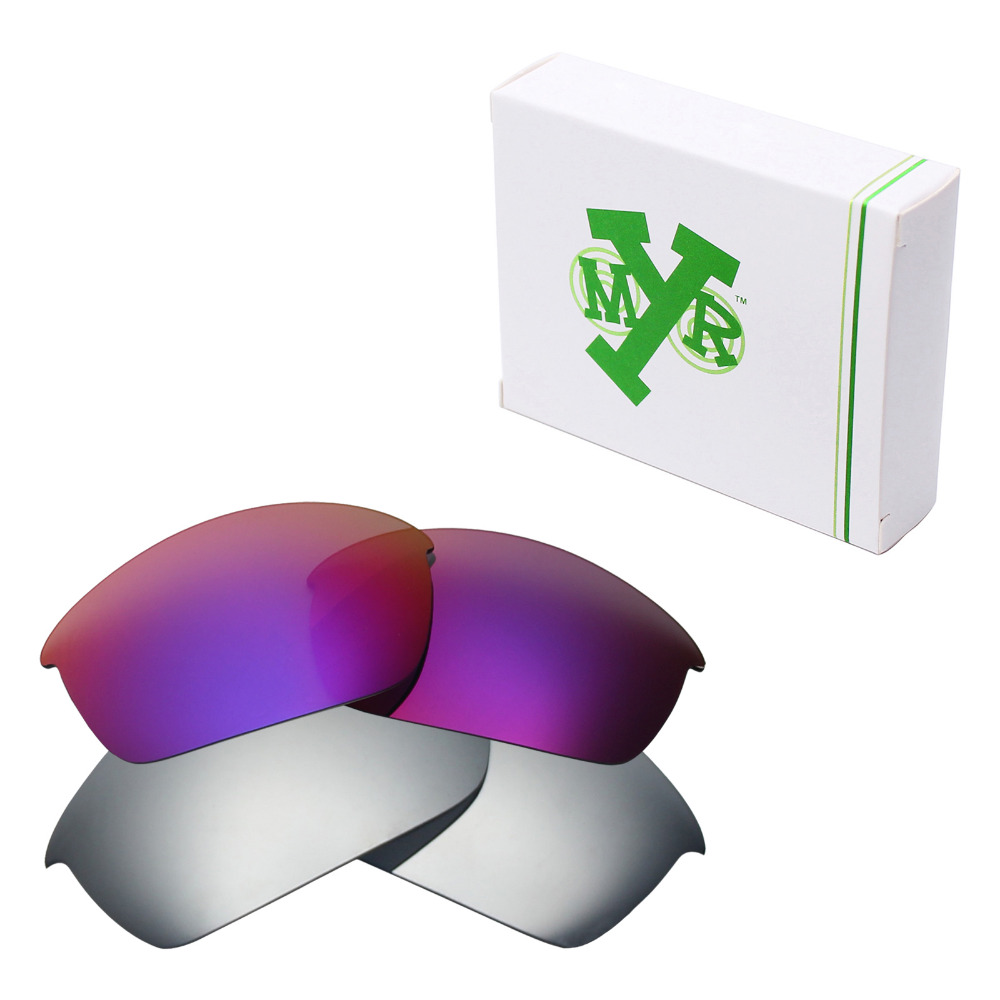 4ad6789e2 2 Pairs Mryok POLARIZED Replacement Lenses for Oakley Flak Jacket Sunglasses  Silver Titanium & Midnight Sun