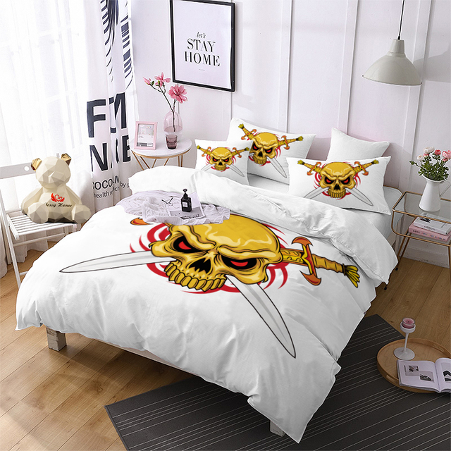 Pirate Skull Comforter Bedding Sets Gold Duvet Cover Set White King Size Sword