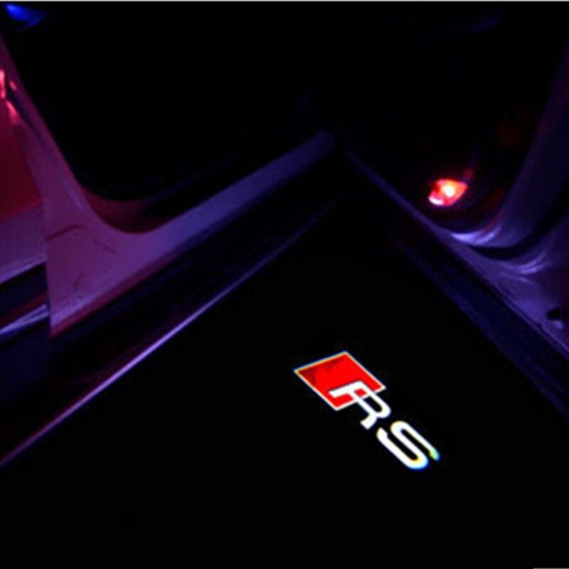 2pcs Car LED Door Warning Light Welcome Logo Projector For Audi a8 a7 a5 a6 a4 a3 a1 r8 tt q7 q5 q3 80 100 rs rs3 rs4 rs5 rs6 r8