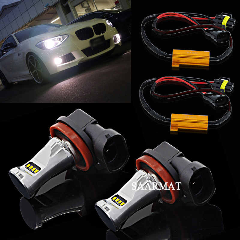 Pair H8 H9 H11 6000K White 800LM DRL Daytime Running Lamp LED Fog Light+Canbus Decoder FOR BMW E71 X6 E70 X5 E83 F25 X3