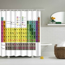 Bathroom Shower Curtain with Periodic table of elements 3D printed Polyester Curtain cortina ducha new design