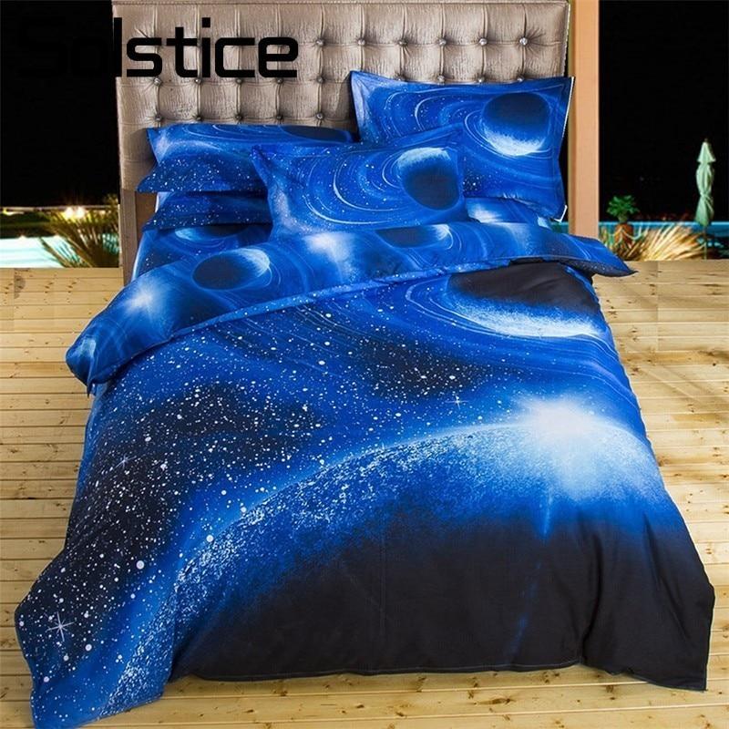 Solstice Accueil Textile Bleu Saturne Espace Ensembles de Literie Couette Housse de Couette Taie D'oreiller Plat Lit de Feuille Enfant Adolescent Homme Femme draps