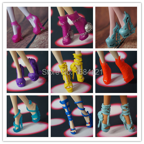 Free shipping 5 pairs lot New Fashion shoes for Monster toys High Doll accessories for monster