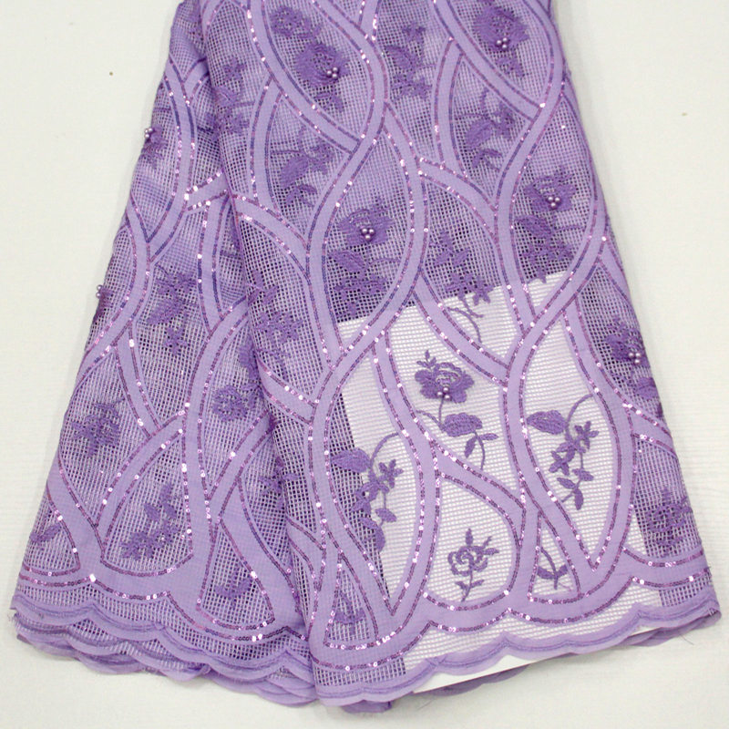 top grade Lilac rope embroidery African lace fabric 2018 mesh french lace with beads and sequins