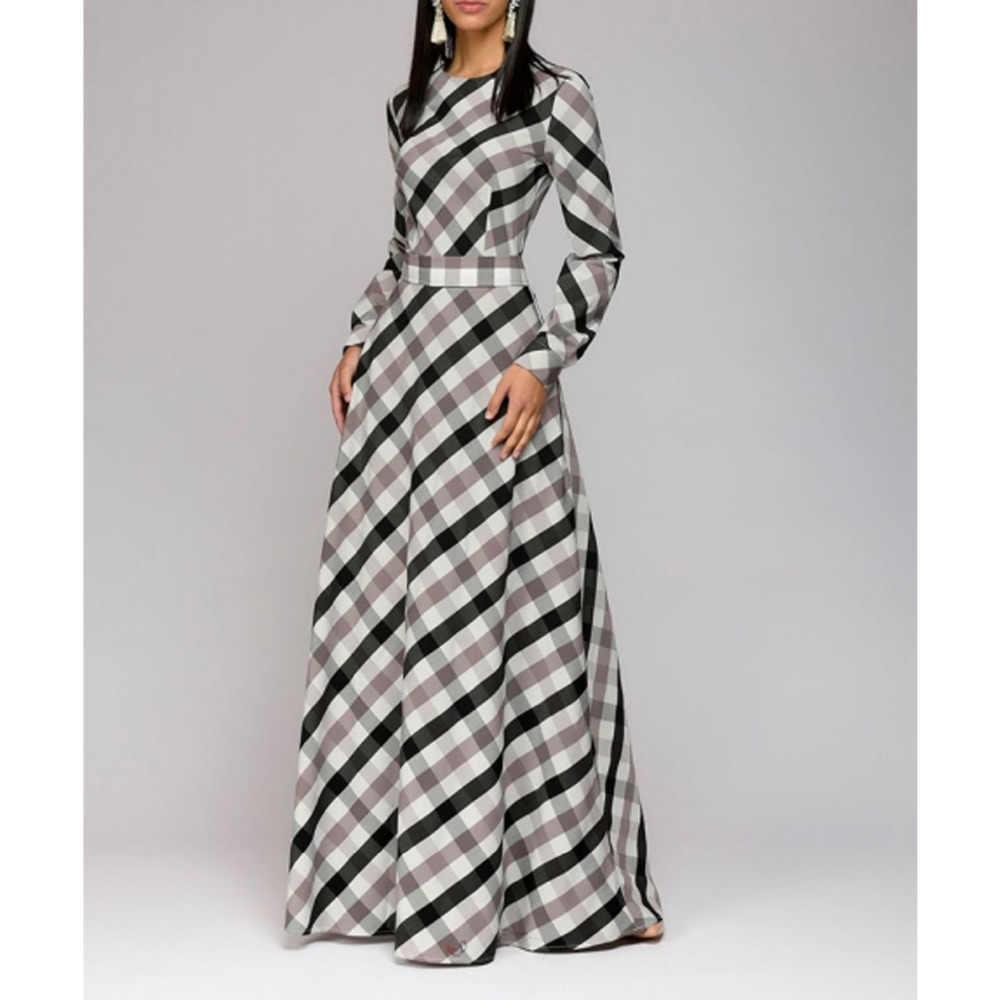 2019 элегантное облегающее макси платье, винтажное летнее платье, женское разноцветное клетчатое платье с длинным рукавом, длина до пола, платье карандаш, большой размер