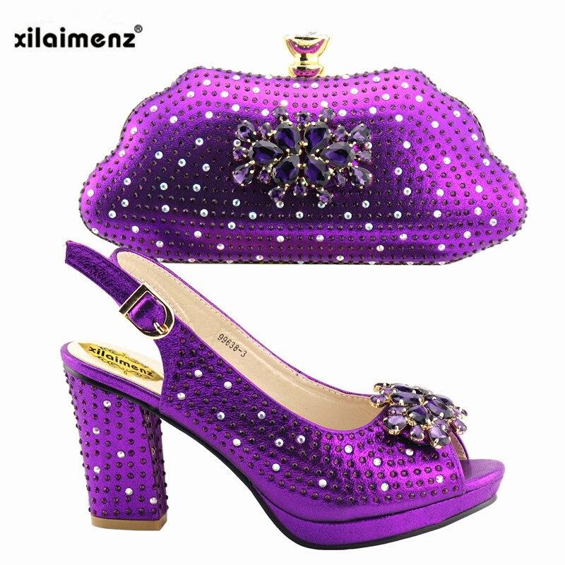 purple Parties Conception Nigeria gold Royal silver Sac Or Blue Assorti Africains Pour Confortable Avec Talons Ensemble Pompes Couleur Chaussures Africaine Et APzHqZw