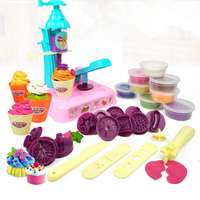 DIY Kids Ice Cream Machine Model Toy Rubber Mud Clay Maker Tool Pretend Play House Interactive Education Toys for Girl Children