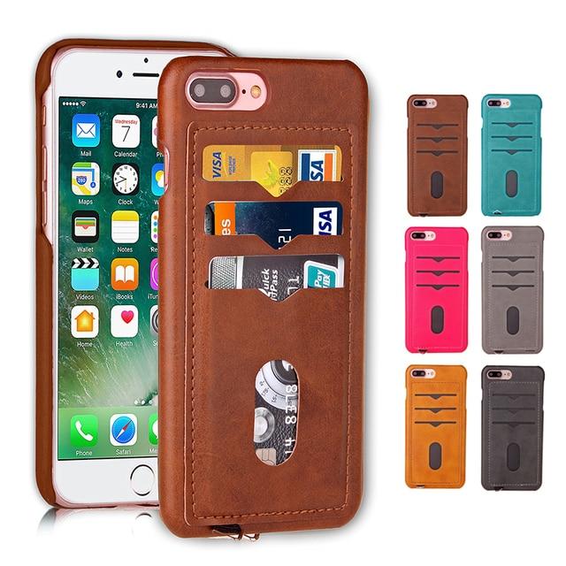 a93516b76d8 Ranura Para tarjeta Funda Cartera De Cuero para iPhone 7 Plus 7 6 6 s Plus  ...