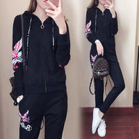 Big Yards New Winter Women Printed Suit Hoodies Sweatshirt Pants Casual Lady Outfit Latest Fashion Black