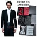 Free shipping 3 in 1Gentlemen widecummerbund bow tie kerchief  handsome men formal dress chest towel