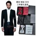 Frete grátis 3 em 1 Senhores widecummerbund bow tie homens vestido formal toalha peito lenço bonito