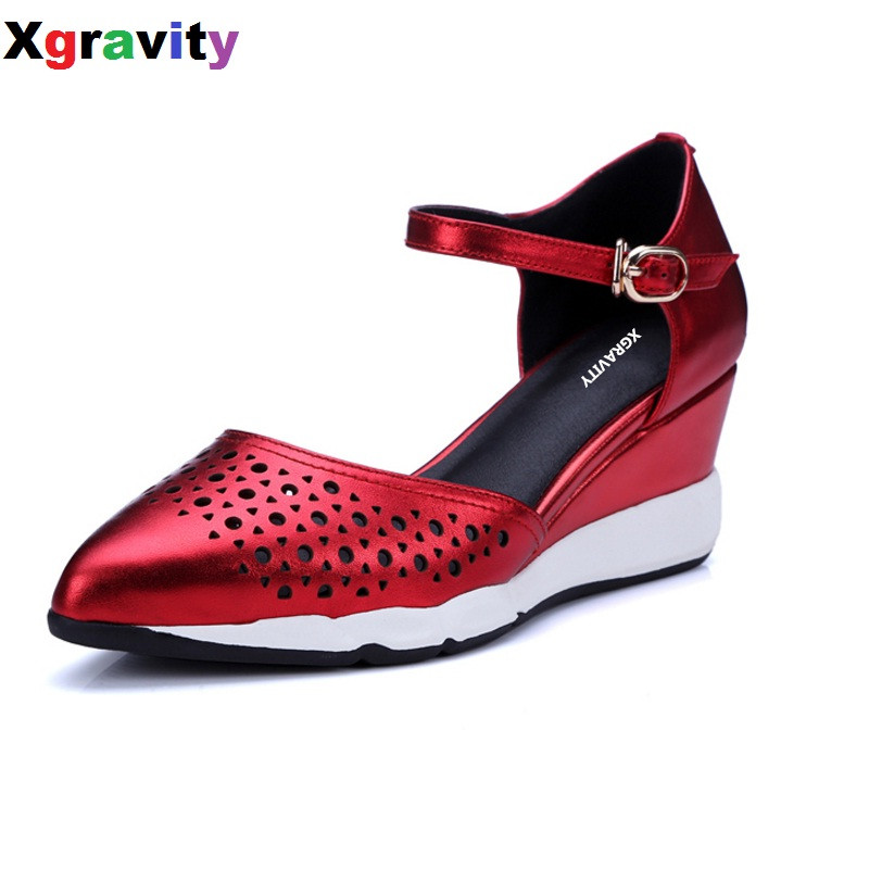 Hollow Design Genuine Leather Lady Fashion High Heel Closed Point Toe Dress Shoes Elegant Women's Sandals Sexy Wedge Shoes B275 купить