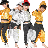 New Boys Girls Long Sleeve Bright Sequined Hooded Outfits Kids Modern Jazz Hip Hop Dance Costume