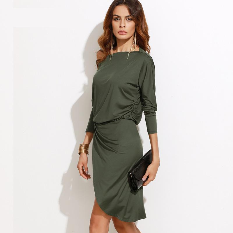 Для женщин осень лето пикантные элегантные одно плечо Bodycon платье Тонкий с длинным рукавом Вечеринка клуб нерегулярные Knitt платья