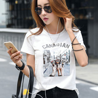 Women's new round neck short sleeved T shirt Ice cream printing Korean version of the loose cotton top.