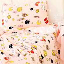 Candice guo! New style cute plush toy Sailor Moon luna cat soft air condition blanket pillowcase pink creative birthday gift 1pc
