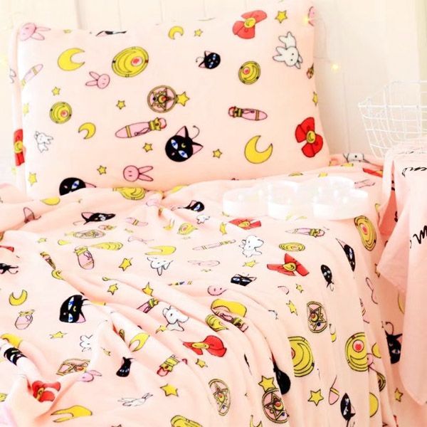 Candice guo! New style cute plush toy Sailor Moon luna cat soft air condition blanket pillowcase pink creative birthday gift 1pc все цены