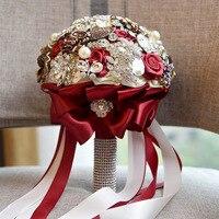 Ebedi Melek broşlar tarafından 2017 yeni el yapımı kaplı ve kristaller gelin düğün buketi tutan çiçek gelin düğün çiçekleri